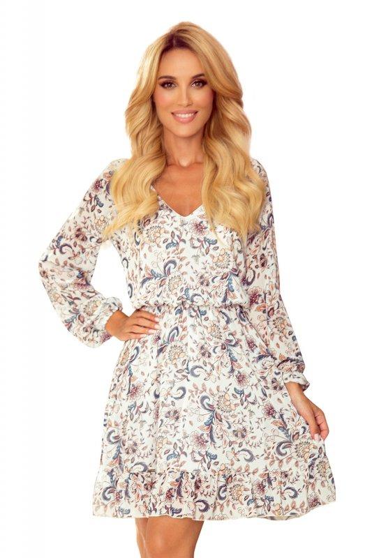 Bakari zwiewna szyfonowa sukienka z dekoltem - KWIATY na jasnym tle - 9