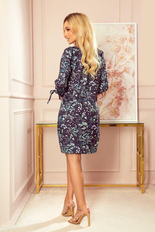 SOPHIE Wygodna sukienka Oversize - Miętowe liście na ciemnym tle - 2