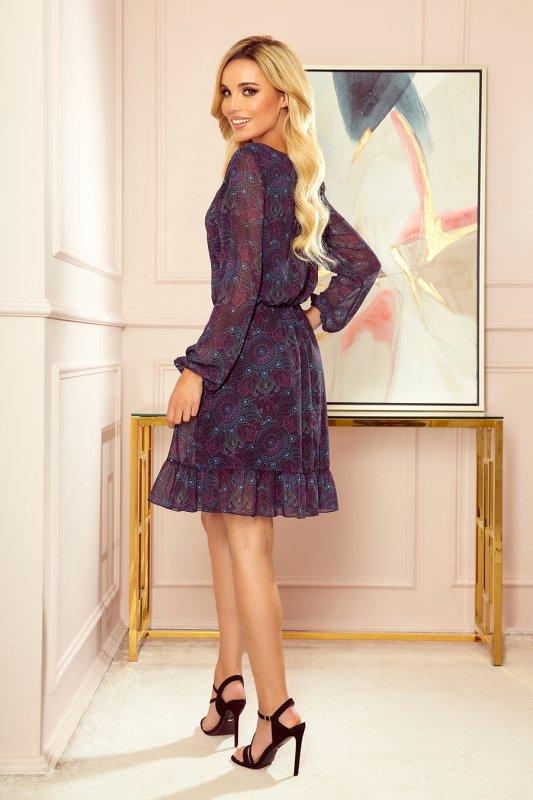 BAKARI zwiewna szyfonowa sukienka z dekoltem - różowo-niebieskie mandale- 2