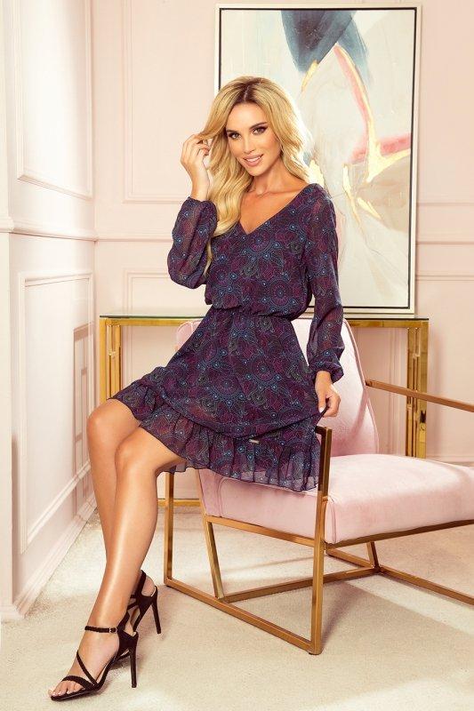 BAKARI zwiewna szyfonowa sukienka z dekoltem - różowo-niebieskie mandale- 3