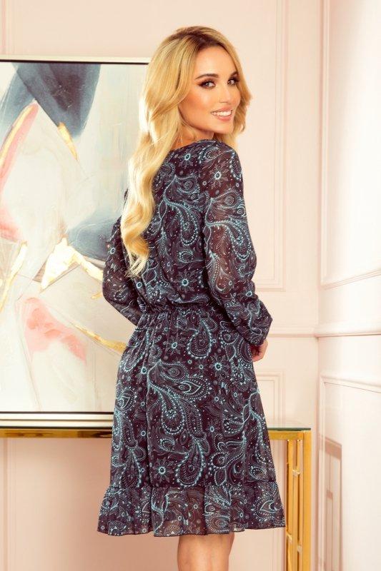 Bakari zwiewna szyfonowa sukienka z dekoltem - Turkusowy wzór-4