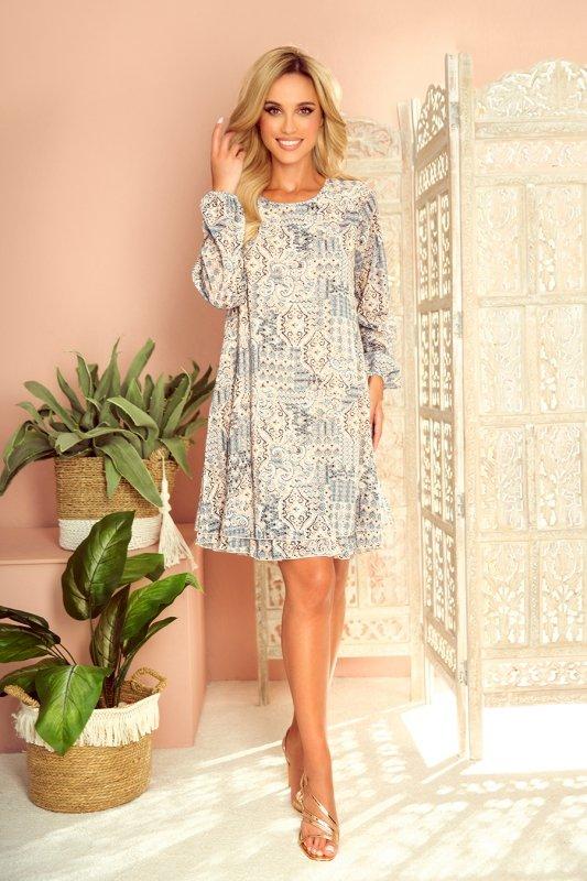 HANNAH szyfonowa sukienka z dekoltem na plecach - beżowo-niebieska-6