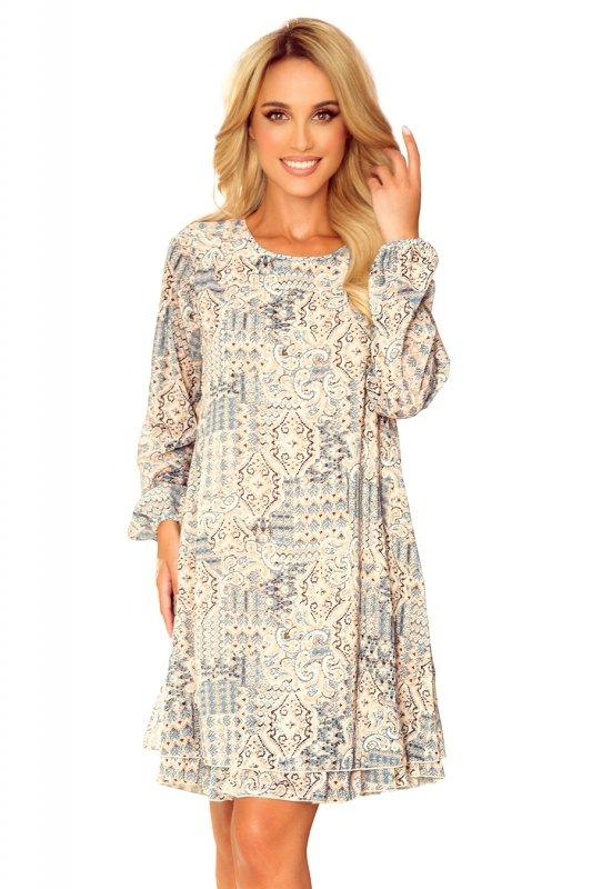 HANNAH szyfonowa sukienka z dekoltem na plecach - beżowo-niebieska-9