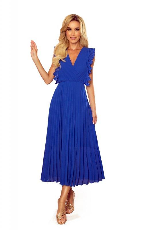 EMILY Plisowana sukienka z falbankami i dekoltem - CHABROWA