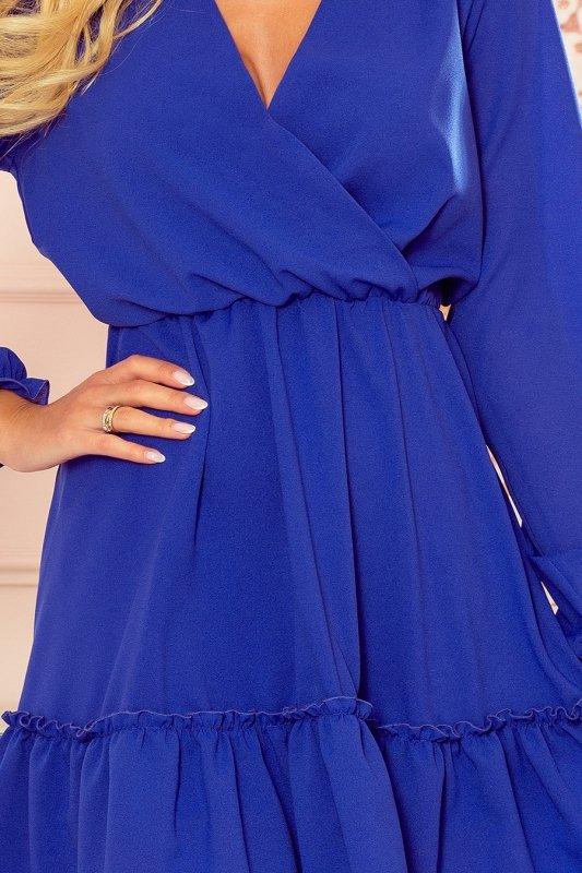 LAUREN Szyfonowa sukienka z dekoltem i falbankami - CHABROWA - 7