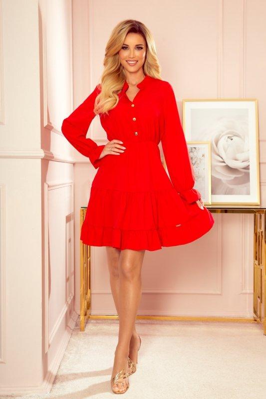 Sukienka z falbankami i złotymi guzikami - Czerwona - 3