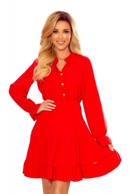 Sukienka z falbankami i złotymi guzikami - Czerwona - 7
