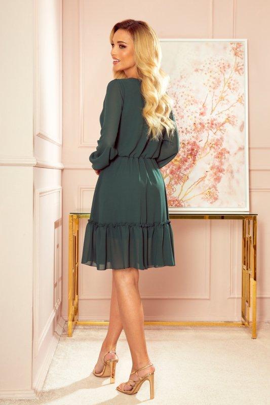 Lauren - Szyfonowa sukienka z dekoltem i falbankami - ZIELEŃ BUTELKOWA - 2