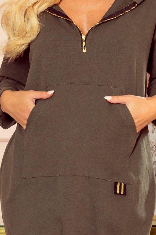Bluza kangurka z kapturem i kieszeniami - Khaki - 5