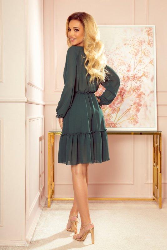 TRACY Szyfonowa sukienka z guzikami - ZIELEŃ BUTELKOWA - 2