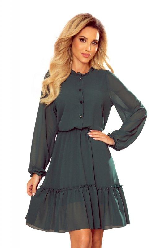TRACY Szyfonowa sukienka z guzikami - ZIELEŃ BUTELKOWA - 7