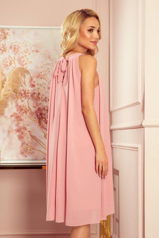 ALIZEE szyfonowa sukienka z wiązaniem - PUDROWY RÓŻ