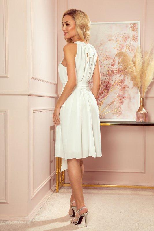 ALIZEE - szyfonowa sukienka z wiązaniem - ECRU - 2