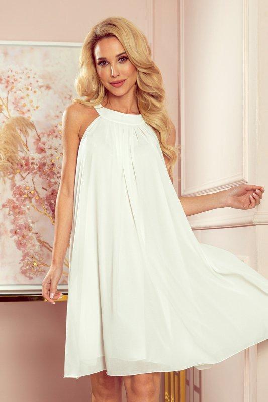 ALIZEE - szyfonowa sukienka z wiązaniem - ECRU - 7