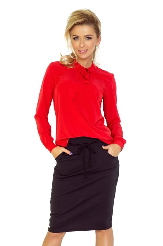 Bluzka z wiązaniem z przodu - Czerwona - numoco 140-3