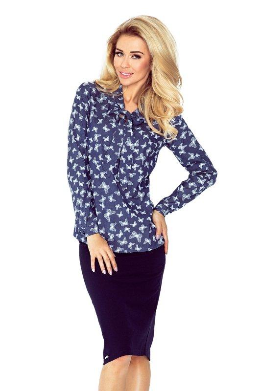 Bluzka z wiązaniem z przodu w motyle  -  Ciemny Jeans - numoco 140-7