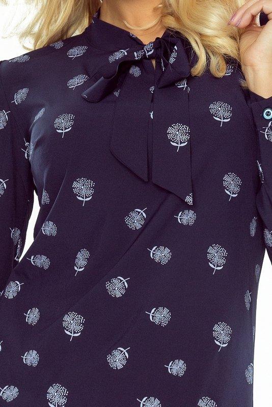 Bluzka z wiązaniem z przodu w dmuchawce  - Granatowa - numoco 140-6