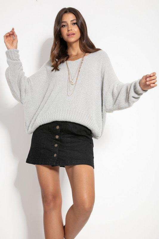 Luźny sweter z dekoltem F1066-szary -4
