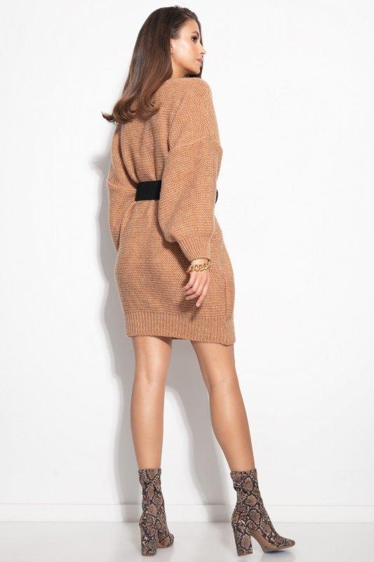Dzianinowa sukienka-F1105-ecru-1