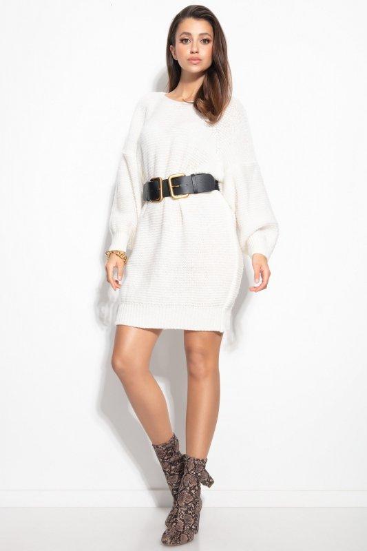 Dzianinowa sukienka-F1105-ecru-4