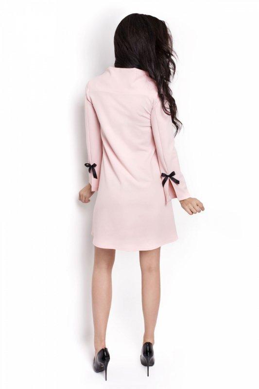 Trapezowa sukienka Natalie - Pudrowy Róż - Ivon
