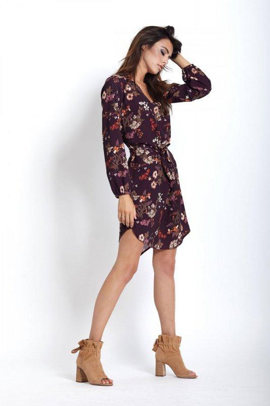 Sukienka w kwiaty Karina - Bordo - StreetStyle 377