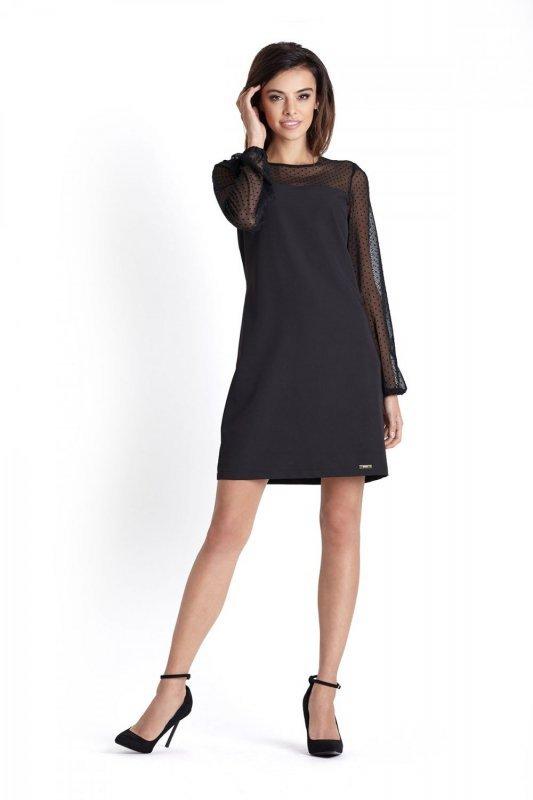 Elegancka trapezowa sukienka Daniela - Czarna - StreetStyle 393