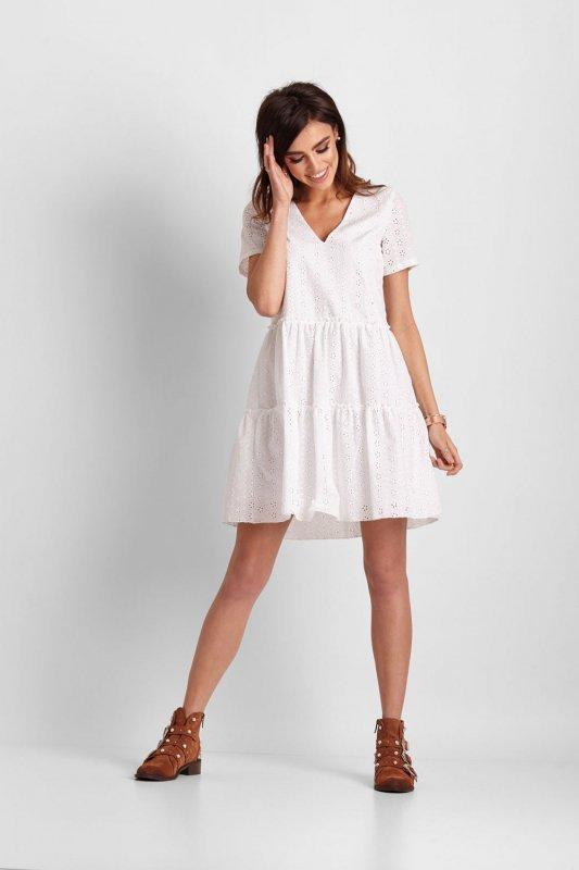 Ażurowa sukienka Melisa - Biała