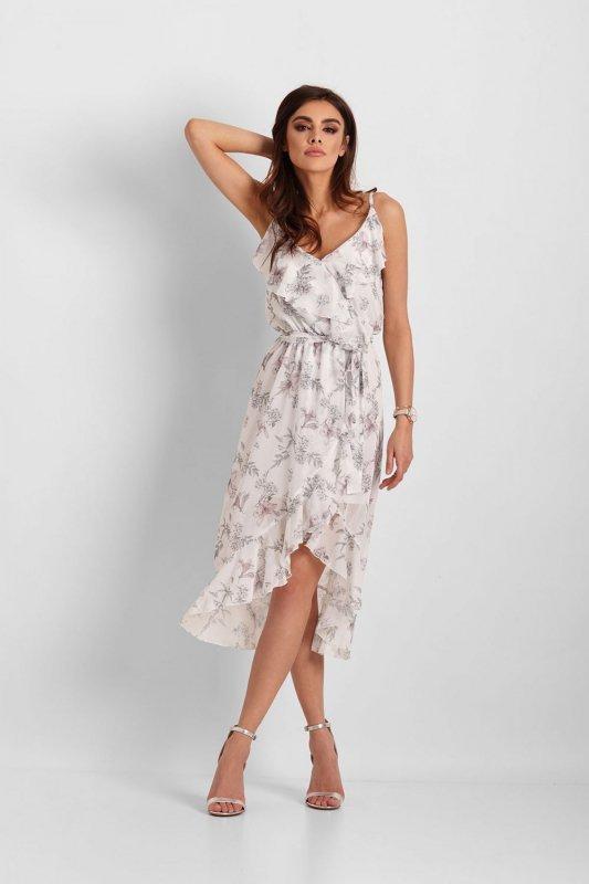 Szyfonowa asymetryczna sukienka Chantal - Białe Kwiaty