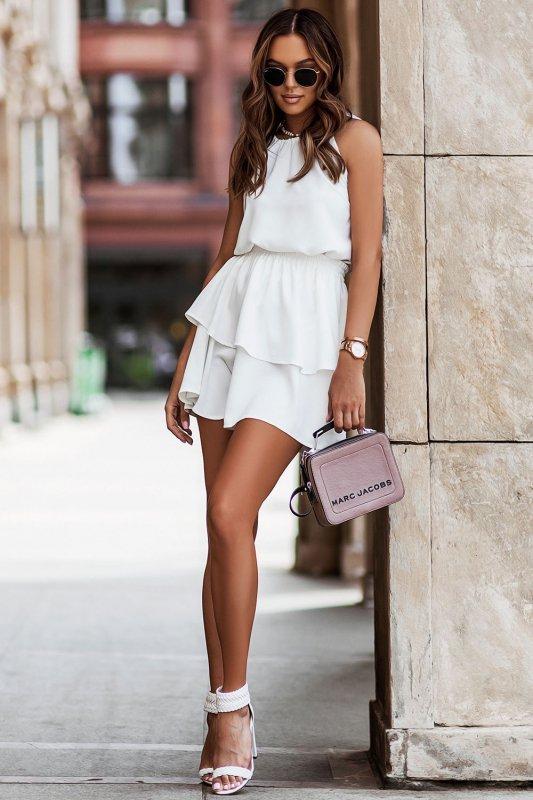 Komplet Costa - bluzka i spódnica z falbanami - krem _3
