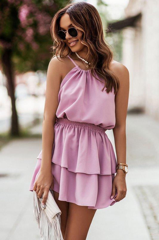 Komplet Costa - bluzka i spódnica z falbanami - różowy_1