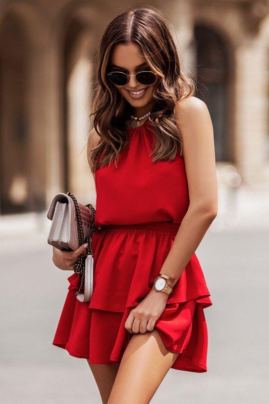 Komplet Costa - bluzka i spódnica z falbanami - czerwony_2