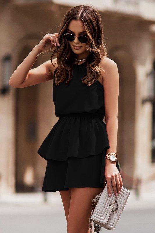 Komplet Costa - bluzka i spódnica z falbanami - czarny_1