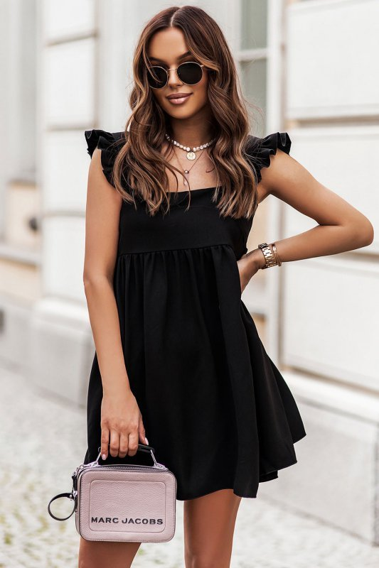 NOEL sukienka mini o lekko oversizowym kroju - Czarna_2