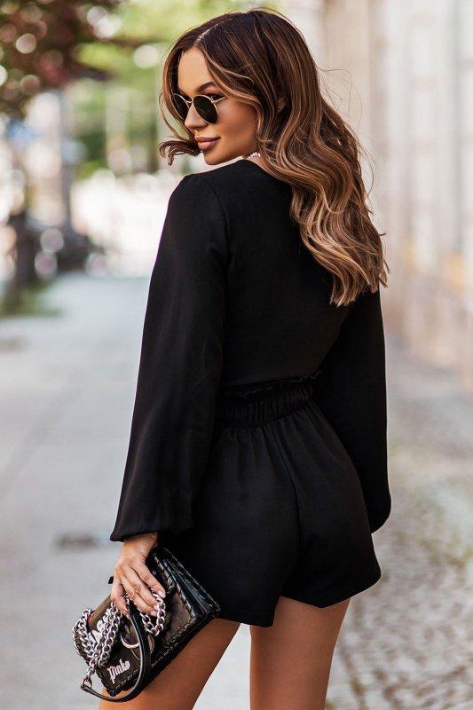 Komplet Rivi - wiązana bluzka z krótkimi spodenkami - czarny_5