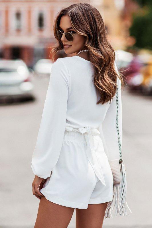 Komplet Rivi -  wiązana bluzka z krótkimi spodenkami - cream_7