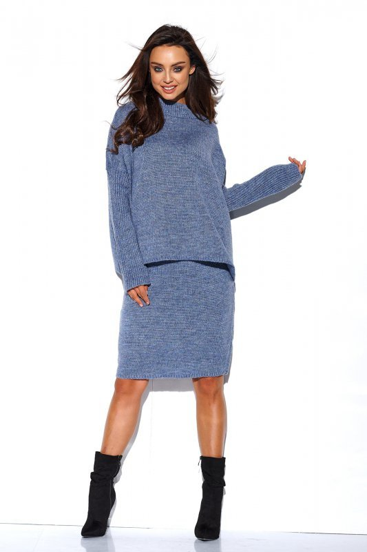 Komplet sweter półgolf i spódnica - StreetStyle LS260 - jeans-2