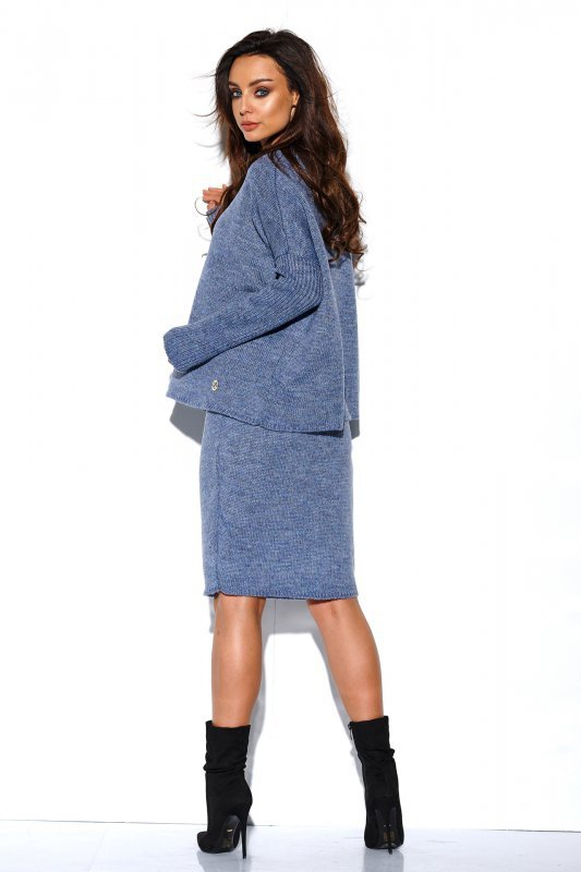 Komplet sweter półgolf i spódnica - StreetStyle LS260 - jeans-3