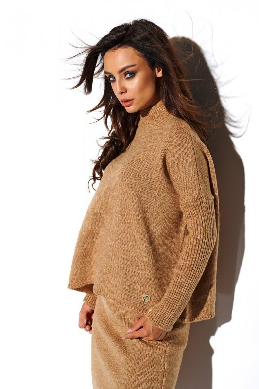 Komplet sweter półgolf i spódnica - StreetStyle LS260 - kamel-2