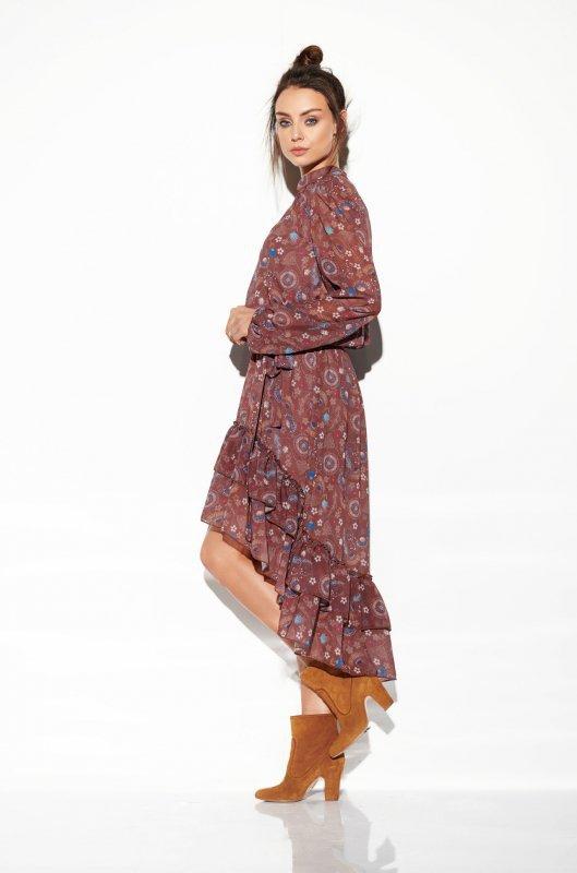 Sukienka z jedwabiem i krótszym przodem -StreetStyle LG504 - druk 9