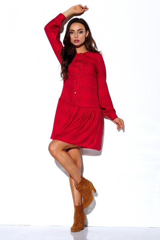 Koszulowa sukienka z falbaną i guziczkami - druk 5