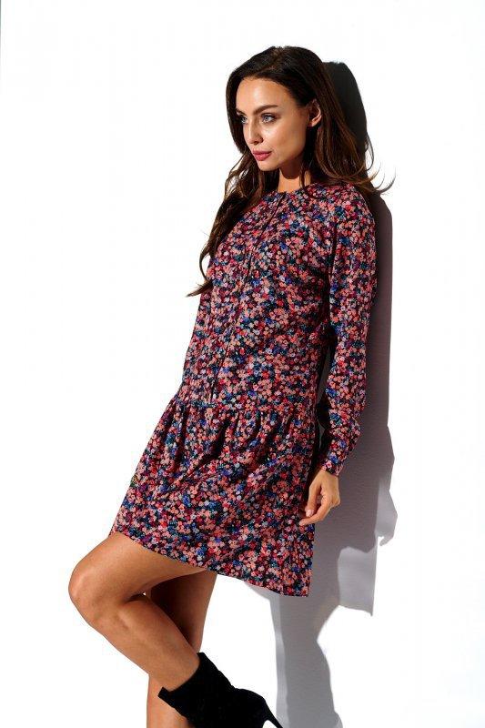 Koszulowa sukienka z falbaną i guziczkami - druk 10