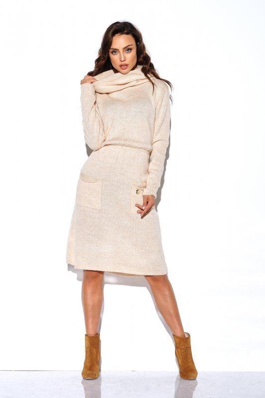 Sweterkowa sukienka z golfem i kieszeniami - StreetStyle LS257- beżowy-1