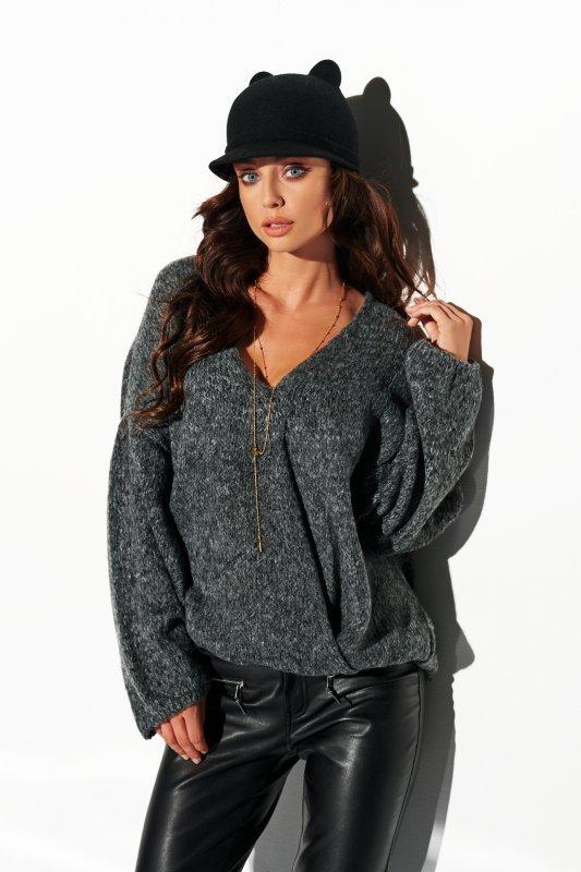 Sweter z dużym dekoltem - StreetStyle LSG111- grafit- 4