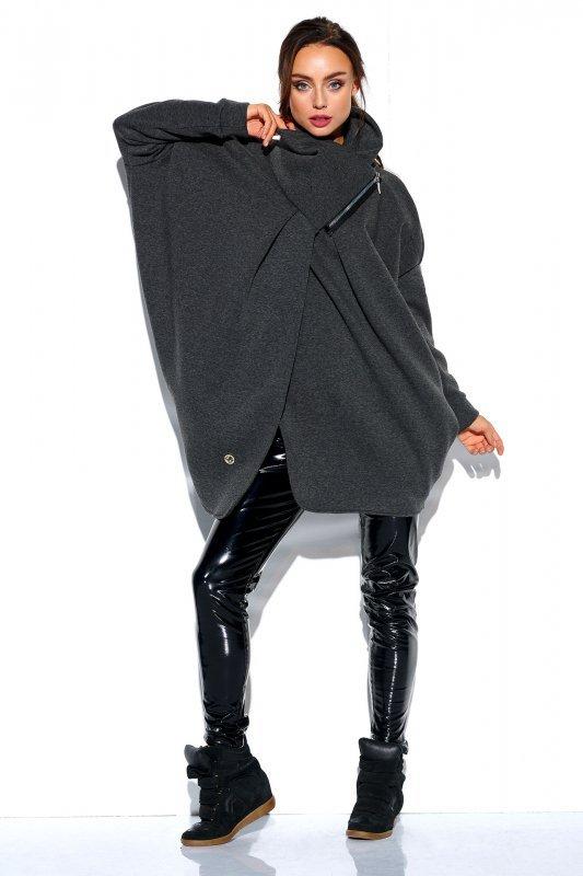Bluza o oversizowym kroju z zamkiem - StreetStyle LN100 - grafit - 1