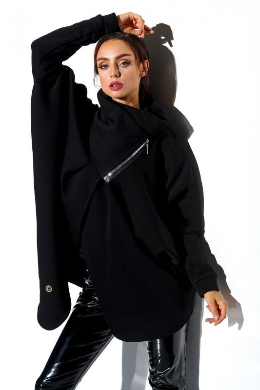 Bluza o oversizowym kroju z zamkiem - StreetStyle LN100 - czarna - 2