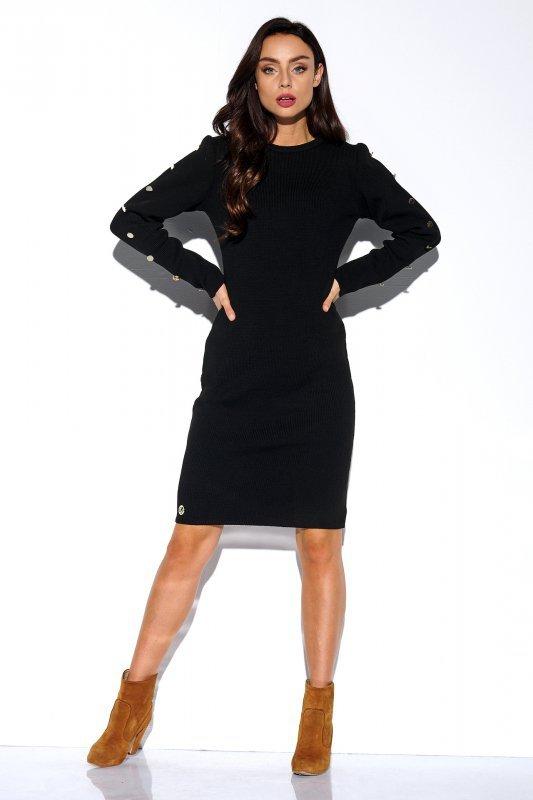 Sukienka swetrowa z guzikami na rękawach - StreetStyle LS270- czarna - 3