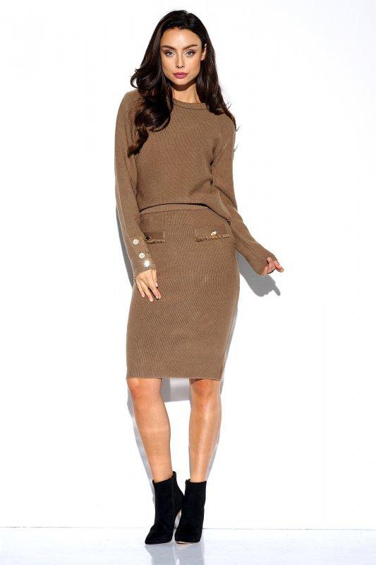 Elegancki komplet sweter i spódnica - StreetStyle LSG118 - capucino  - 3