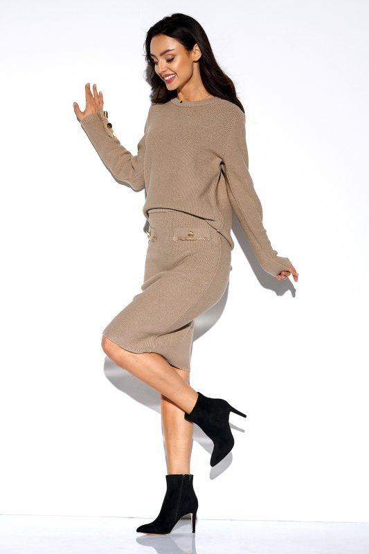 Elegancki komplet sweter i spódnica - StreetStyle LSG118 - kamel  - 4