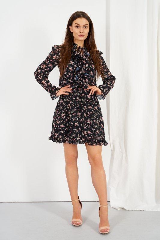 Szyfonowa sukienka z jedwabiem i żabotem wzór - StreetStyle LG518 - druk 16
